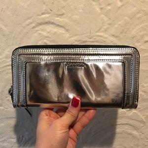 Calvin Klein Metallic Silver Zip Around Wallet